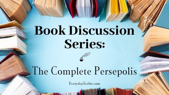 Books circling the words: Book Discussion Series: The Complete Persepolis