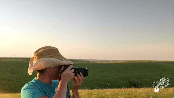 Amy taking photos in the Flint Hills.