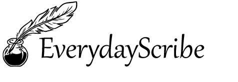 Quill and ink logo with EverydayScribe written in black