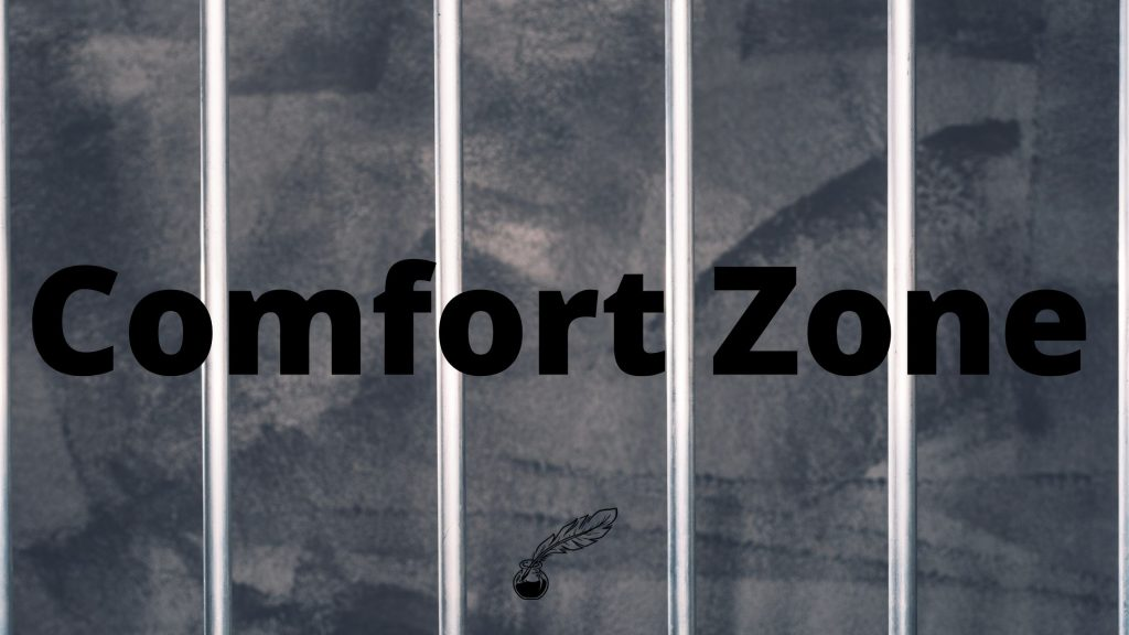 "Dark gray background with light colored vertical bars with ""Comfort Zone"" written in bold black letters"