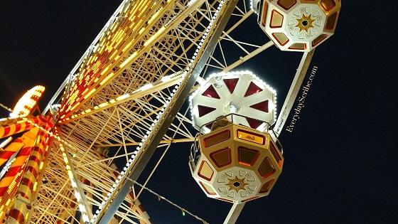 Photo of a Ferris Wheel taken at night
